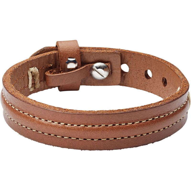 Mens Fossil Stainless Steel & Leather Bracelet from Fossil Jewellery