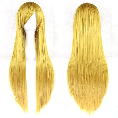 "Fouriding 31"" Yellow Women's Long Straight Cosplay Party Wigs Hairpieces Hair Cap Lolita Style Anime Wig from Fouriding"
