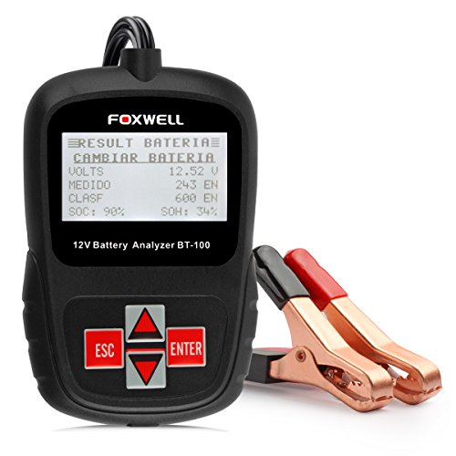FOXWELL BT100 12 Volt Car Battery Tester 100-1100 Cold Cranking Amps Check Battery Life Health Directly Detect Bad Cell Battery Analyser from Foxwell