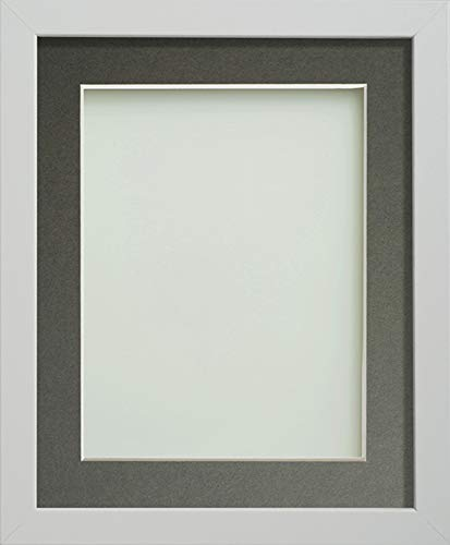 Frame Company Allington Range Picture Photo Frame with Grey Mount for Image Size 5 x 5 Inches - 8 x 8 Inches, White from Frame Company