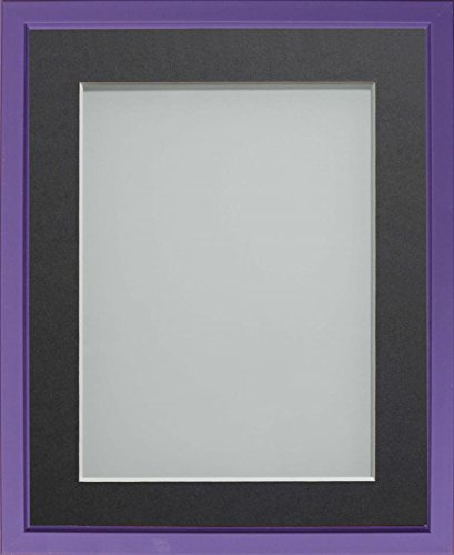 Frame Company Drayton Range 12X10-Inch Purple Picture Photo Frame with Grey Mount For Image Size 9X7-Inch from Frame Company
