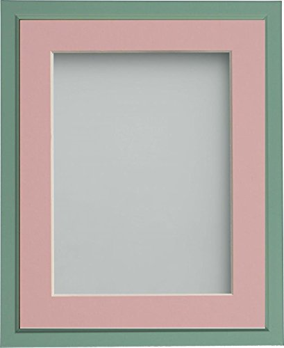 Frame Company Drayton Range 12x10-inch Green Picture Photo Frame with Pink Mount For Image Size 6x4-inch from Frame Company