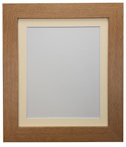 "FRAMES BY POST ""London Oak Picture"" Photo Poster Frame with 18 x 14-Inch Ivory Mount for Plastic Glass Picture Size 14 x 11-Inch, Oak with Ivory Mount, 39 x 15 mm from Frames by Post"