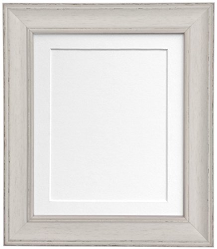 Scandi Vintage Distressed Pale Grey Picture Photo Frame with White Mount 50 x 70 cm For Image size 24 x 16 inch from Frames by Post