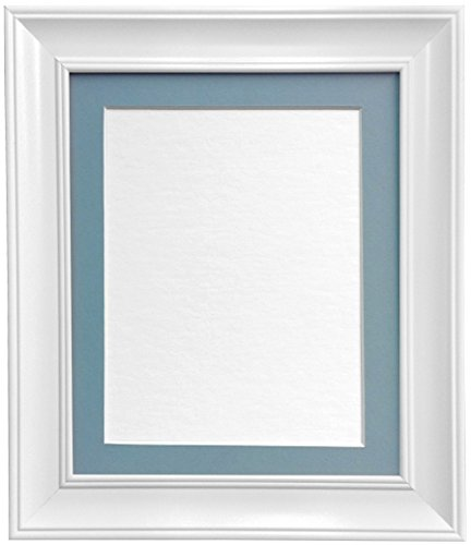 FRAMES BY POST Scandi Vintage White Picture Photo Frame with Blue mount 12 x 10 For Image size 10 x 8 from FRAMES BY POST