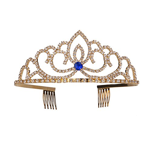 Crystal Rhinestone Bridal Crown Bling Queen Tiara with Side Comb Glittering Jewelry Decoration for Wedding Engagement (Blue and Gold) from FRCOLOR