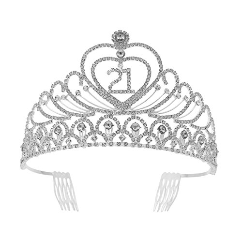 Frcolor 21st Birthday Tiara Crystal Rhinestone Women 21st Birthday Crown with Combs (Silver) from FRCOLOR