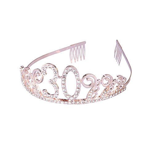 Frcolor 30th Birthday Tiara Crystal Rhinestone Women 30th Birthday Crown with Combs (Rose Gold) from FRCOLOR