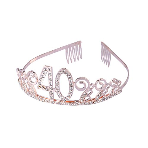 Frcolor Birthday Tiara, Rhinestone 40th Birthday Crowns Happy 40th Birthday (Rose Gold) from FRCOLOR