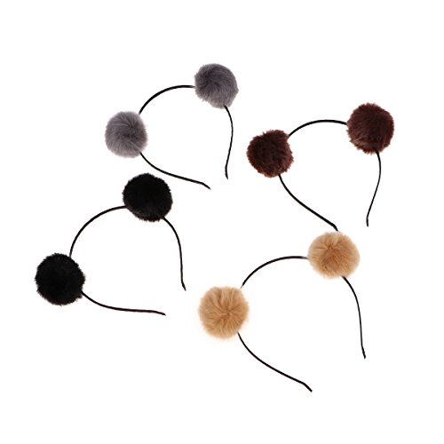 Frcolor Fuzzy Pom Pom Ball Hair Hoop Cat Ear Headband for Kids Girls 4pcs (Brown + Gray + Black + Camel) from Frcolor