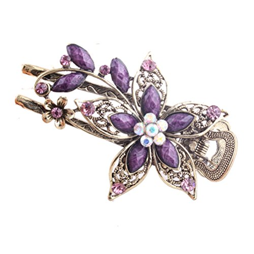Frcolor Vintage Jewelry Crystal Hair Clips Hairpins- For Hair Clip Beauty Tools(Purple) from FRCOLOR