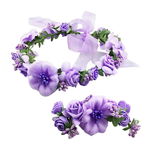 Hair Tiara Wedding Crown 2Pcs Flower Wreath Crown Adjustable Floral Headband Garland with Flower Wristband for Wedding Festival Party (Purple) from Frcolor