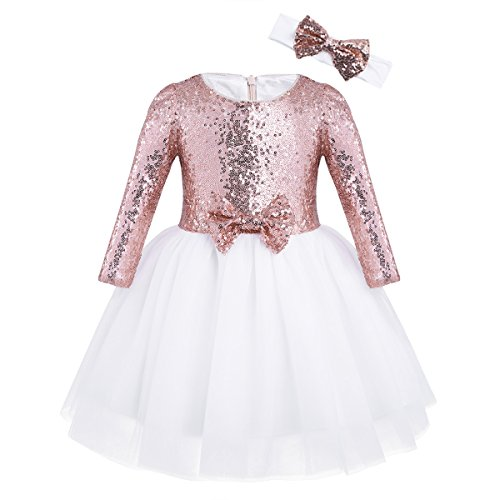 Freebily Flower Girl Dress Baby Children Long Sleeve Sequins Princess Wedding Party Birthday Tutu Dress with Headband Rose Gold 3-4 Years from Freebily