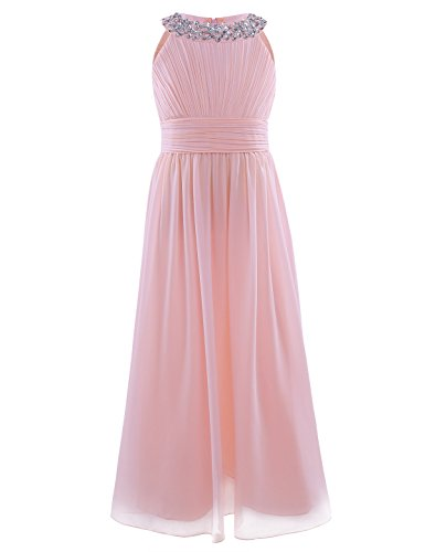 Freebily Girls Kids Beaded Halter-Neck Chiffon Bridesmaid Dress Wedding Party Ball Prom Long Evening Gowns Pearl Pink Age 7-8 Years from Freebily