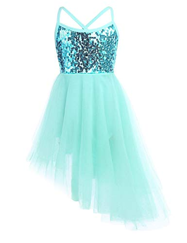 Freebily Girls Kids Sequins Ballet Dance Tutu Dress Ballerina Fairy Costume Gymnastic Leotard Asymmetrical Skirt Mint Green Age 8-10 Years from Freebily