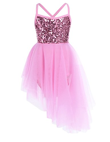 Freebily Girls Kids Sequins Ballet Dance Tutu Dress Ballerina Fairy Costume Gymnastic Leotard Asymmetrical Skirt (Pink, 10-12 Years) from Freebily
