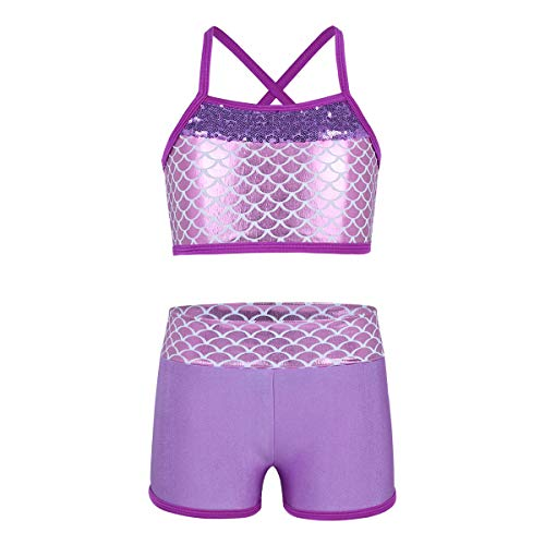 Freebily Girls Workout Sports Outfit Dance Crop Tank Top with Shorts set for Gymnastics Leotard Dancing Swimwear (Mermaid Lavender, 12-14 Years) from Freebily