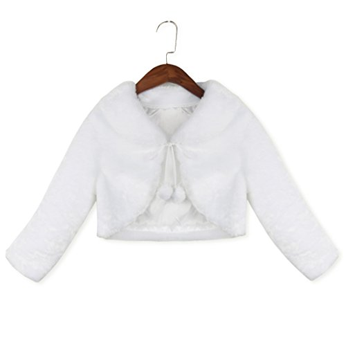 Freebily Kids Girls Faux Fur Long Sleeve Jacket Coat Wedding Flower Girl Shawl Tippet Bolero Shrug Winter Outwear Ivory 3-4 Years from Freebily