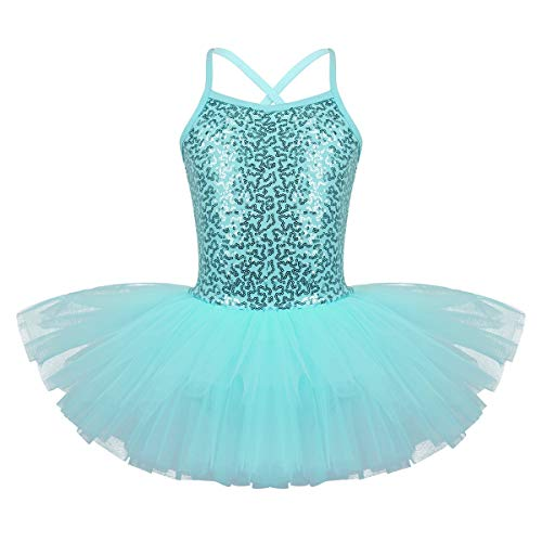 Freebily Kids Girls Sequins Ballet Dance Tutu Dress Gymnastic Leotard Outfit Ballerina Dancewear Costumes Turquoise 6-7 Years from Freebily