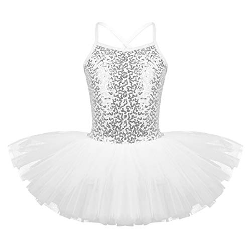 Freebily Kids Girls Sequins Ballet Dance Tutu Dress Gymnastic Leotard Outfit Ballerina Dancewear Costumes White 7-8 Years from Freebily