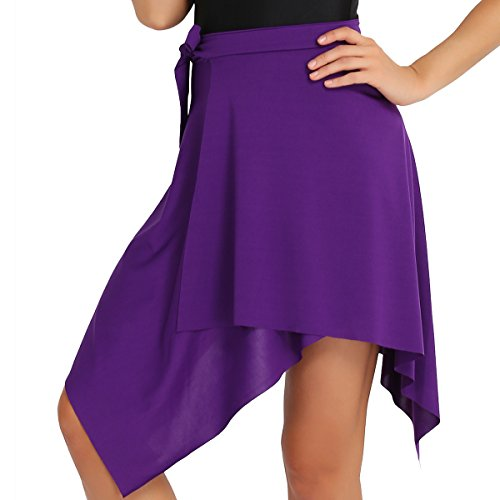 Freebily Women Ballroom Latin Salsa Tango Dance Skirt Dress Skate Wrap Scarf Dancewear with Waist Tie Purple One Size from Freebily