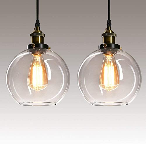 Frideko 2 Pack of Vintage Industrial Ball Glass Lampshade Ceiling Pendant Light for Home Office Bedroom Coffee Shop from FRIDEKO HOME