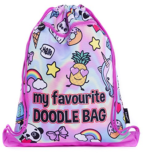FRINGOO® Kids Drawstring Bag with Front Zipped Pocket PE Kit Bag School Backpack (L:34cm*H:42,5cm, Holo Doodles) from Fringoo