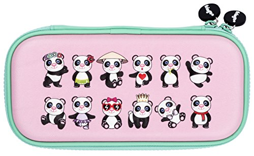 FRINGOO® Kids Pencil Case Hardtop Embossed Cover Double Zipper Pencil Holder Stationery Organiser Funny Novelty Unique Unicorn Design (Panda Style) from Fringoo