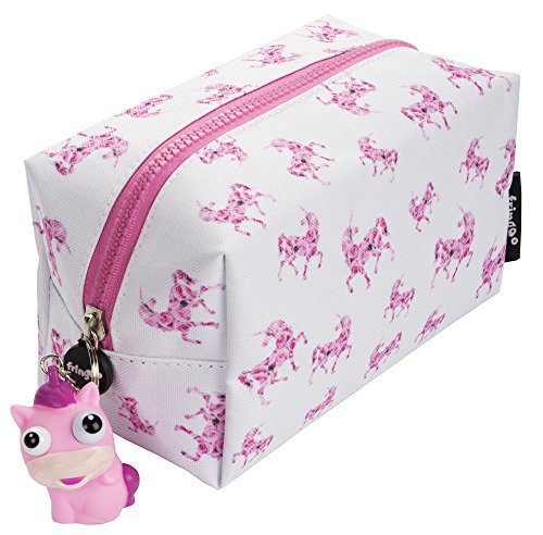 FRINGOO® Large Square Pencil Case for Kids Stationery Pouch with Eye Popper Zip Puller (Roses Unicorn) from Fringoo