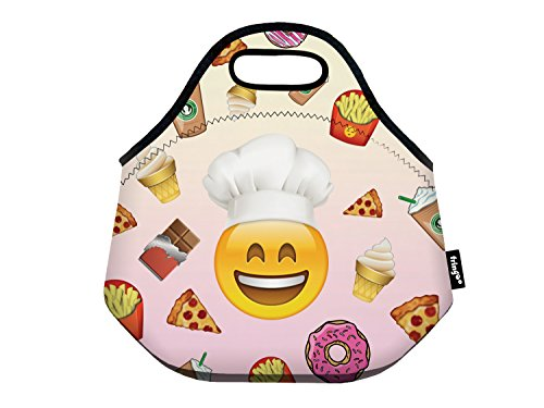 Fringoo® Girls Boys Kids Lunch Bag Zipper Neoprene Thermal Insulated Cooler Carry Bag Tote Food Holder School Travel Picnic Box Container (Emoji Cook) from Fringoo