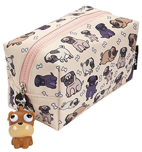 FRINGOO® Large Square Pencil Case for Kids Stationery Pouch with Eye Popper Zip Puller (Pugs World) from Fringoo