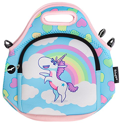 FRINGOO® Kids Lunch Bag Neoprene Children Thermal Insulated Tote Bag Shoulder Strap Zipped Pocket Cooler Snack Picnic Nursery School Cute (Unicorn Rainbow Clouds - Lunch Bag) from Fringoo