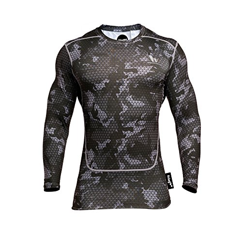 Fringoo Men's Long Sleeve Compression Top Workout Thermal T-Shirt Skin Fit Base Layer Fitness Training Under Shirt Crew Neck (Army Black - Top/X-Large) from Fringoo