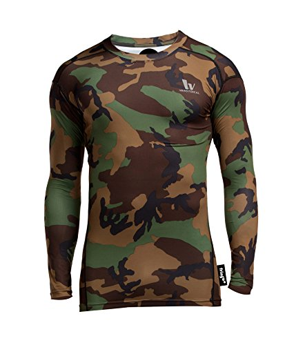 Fringoo Men's Long Sleeve Compression Top Workout Thermal T-Shirt Skin Fit Base Layer Fitness Training Under Shirt Crew Neck (Camo Green - Top/Large) from Fringoo