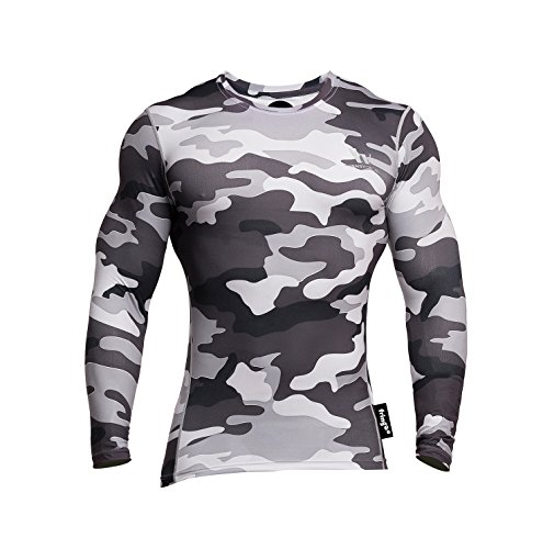 Fringoo Men's Long Sleeve Compression Top Workout Thermal T-Shirt Skin Fit Base Layer Fitness Training Under Shirt Crew Neck (Camo Grey - Top/Large) from Fringoo