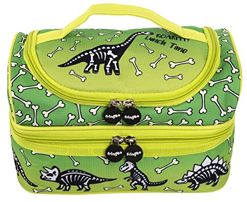 FRINGOO® Multi-compartment Kids Lunch Bag Thermal Insulated Cooler Bag School Nursery Double Decker Food Snacks Carrier (Dinosaur Lunch Time) … from Fringoo