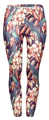Fringoo Women Fitness Fully Printed Leggings Workout Tights Dance Fashion Teenager Yoga Pilates Pants Emoij 8/10 / 12/14 (One Size Fits: 8/10 / 12, Flower Pattern) from Fringoo