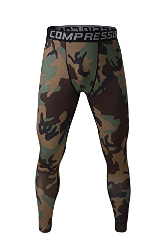 Men's Workout Compression Tights Training Thermal Base Layer Pants Fitness Gym Running Sport Performance Leggings S M L XL (Large, Camo Green) from Fringoo