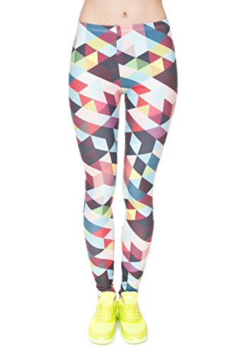 Fringoo Women's Ladies Leggings Full Lenght Stretchy Tights Pants NO See Through Fitness Workout Yoga Running Hipster UK 8 10 12 (One Size Fits UK 8/10 / 12, Colour Triangles) from Fringoo