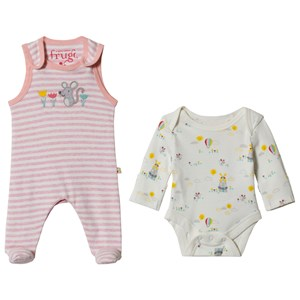 Frugi Pink Marl Striped Mouse Baby Body And Overalls Set Premature from Frugi