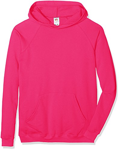 Fruit of the Loom Unisex Kids Raglan Lightweight Hooded Sweat, Fuchsia, 5-6 Years (Manufacturer Size:26) from Fruit of the Loom