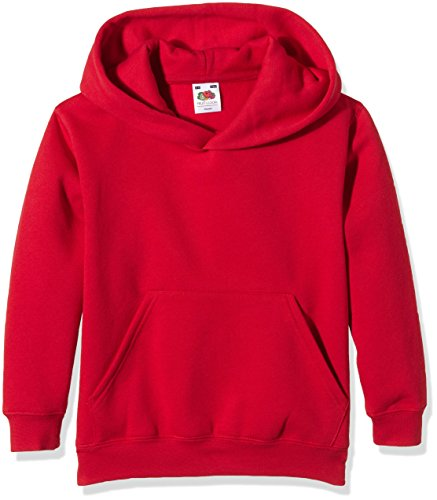 Fruit of the Loom Unisex Kids Premium Hooded Sweat, Red, 14-15 Years (Manufacturer Size:36) from Fruit of the Loom