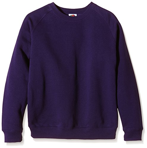 Fruit of the Loom Unisex Kids Raglan Premium Sweater, Purple, 12-13 Years (Manufacturer Size:34) from Fruit of the Loom
