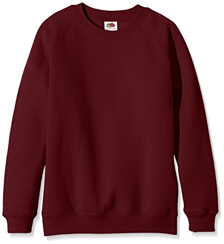 Fruit of the Loom Unisex Kids Raglan Premium Sweater, Burgundy, 12-13 Years (Manufacturer Size:34) from Fruit of the Loom