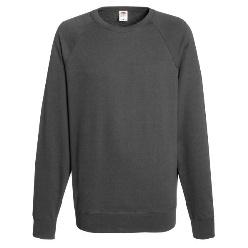 Fruit Of The Loom Mens Lightweight Raglan Sweatshirt (240 GSM) (M) (Light Graphite) from Fruit of the Loom