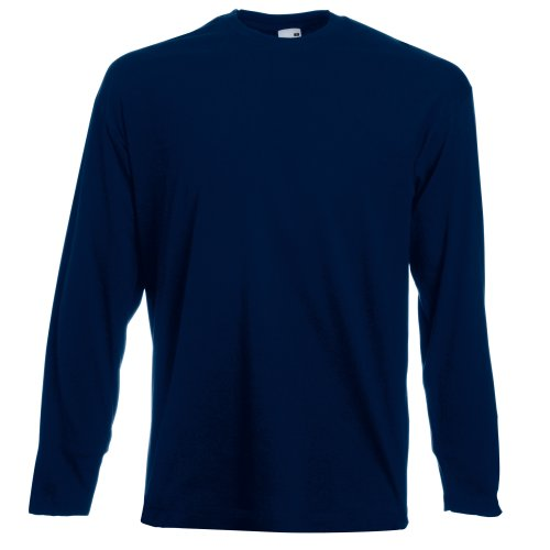 Fruit Of The Loom Mens Valueweight Crew Neck Long Sleeve T-Shirt (S) (Deep Navy) from Fruit of the Loom