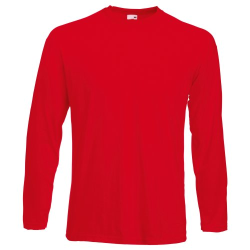 Fruit Of The Loom Mens Valueweight Crew Neck Long Sleeve T-Shirt (S) (Red) from Fruit of the Loom