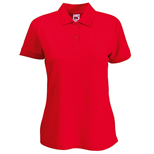 Fruit of the Loom Womens Lady-Fit 65/35 Short Sleeve Polo Shirt (XL) (Red) from Fruit of the Loom
