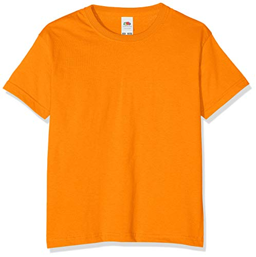 FRUIT OF THE LOOM Unisex Kids Valueweight Short Sleeve T Shirt, Orange, 7-8 Years UK from Fruit of the Loom