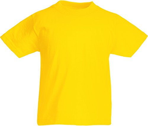 Fruit of the Loom Childrens T Shirt in Yellow Size 9-11 (SS6B) from Fruit of the Loom